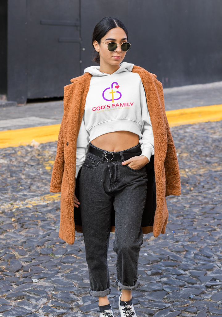 Gods Family Crop Top Hoodie of a Trendy Woman with an Athleisure Style