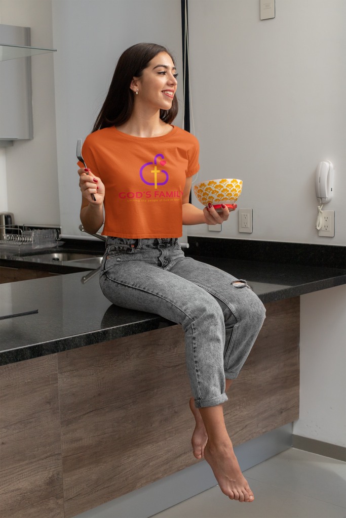 Gods Family Crop-Top Tee of a young woman eating healthy