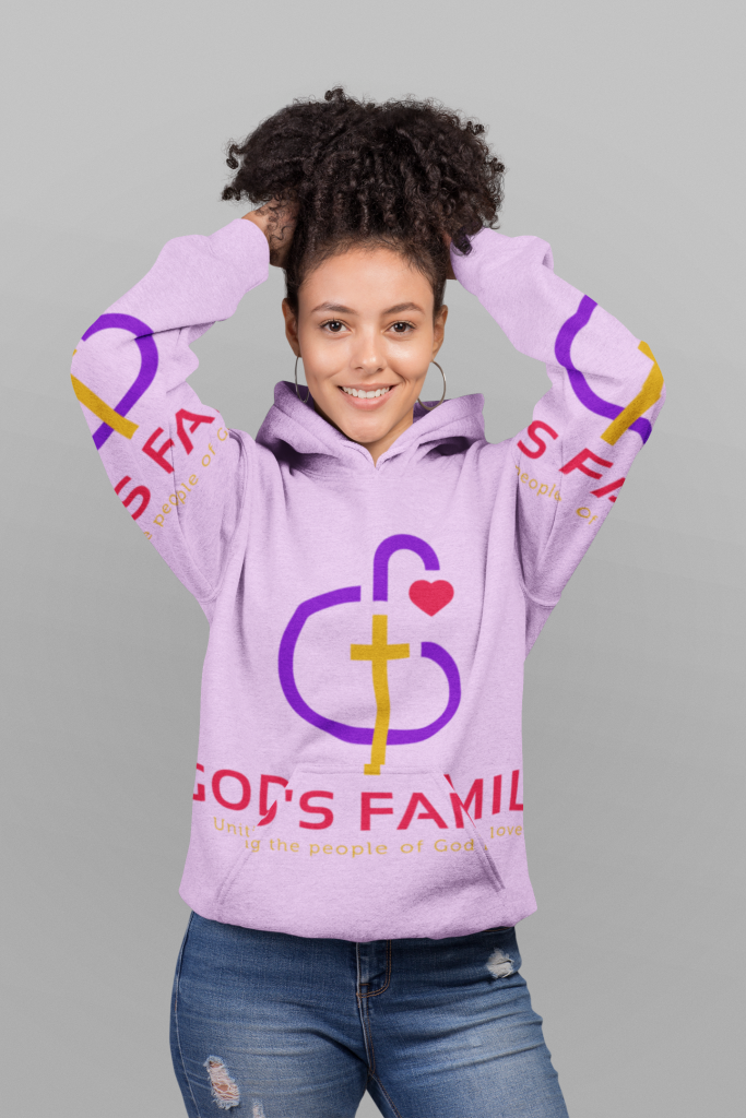 Woman Wearing a Gods Family All-Over-Print Pull-Over Hoodie