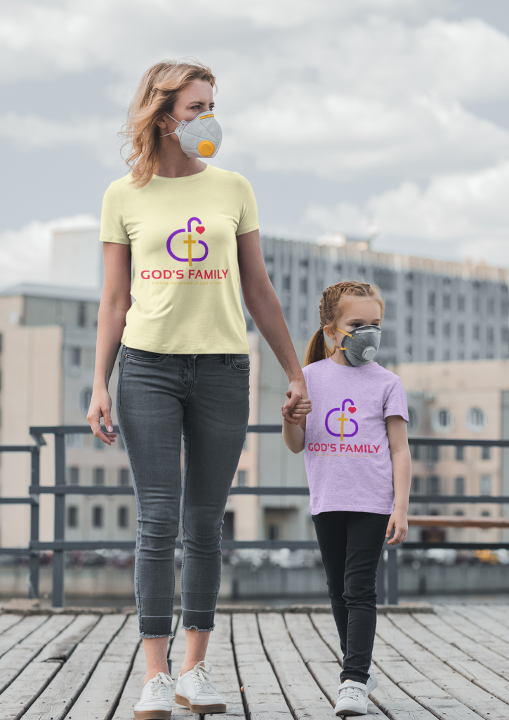 GFAM T-shirt mockup of a Woman and her Daughter Wearing Gods Family Tee's & Face Mask
