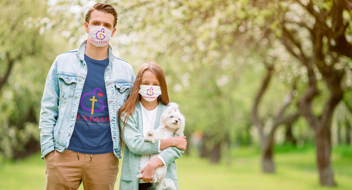 Man and his daughter wearing Gods Family face masks